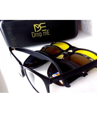 0330704ce Armação para Óculos com Clip - 4 em 1 Polarizado Dirigir à noite Lente Ambar