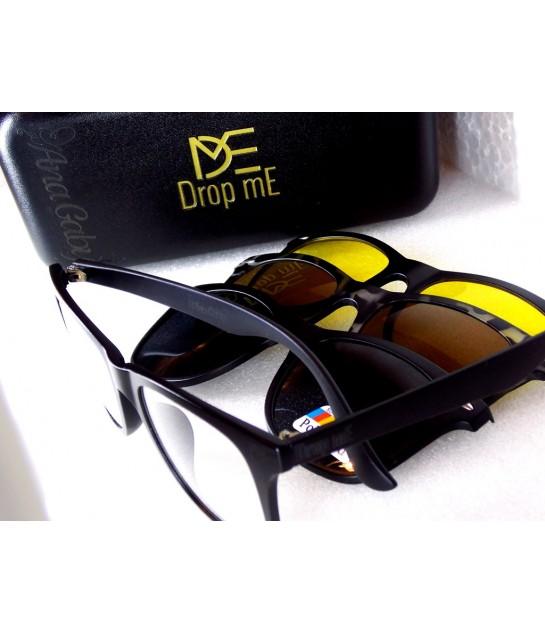 81edf9c85a163 Armação para Óculos com Clip - 4 em 1 Polarizado Dirigir à noite Lente Ambar
