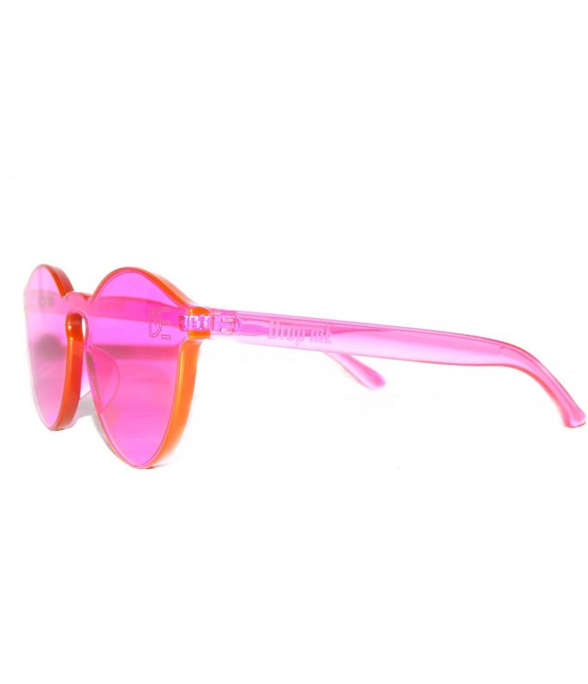 d5321e913645e ... Óculos de Sol Redondo Drop mE Translucido Glass Rosa ...